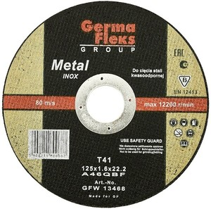 Круг (диск) отрезной по нержавеющей стали 115 мм (115х1,6х22,2) INOX GermaFleks Group