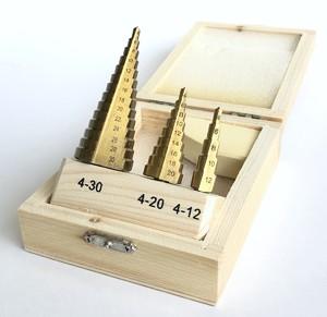 Набор ступенчатых сверл по металлу: 4-12, 4-20 и 4-30 мм