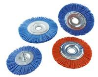 Щетка дисковая нейлоновая с хвостовиком 75х6 мм Z цирконий голубой