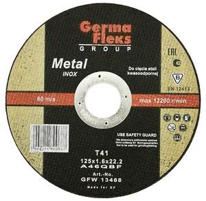 Диск отрезной по нержавеющей стали 115х1,0х22,2 INOX GermaFleks Group
