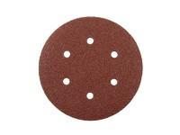 Круг шлифовальный на липучке 150 мм (P120; 6 отверстий) электрокорунд бордовый KND